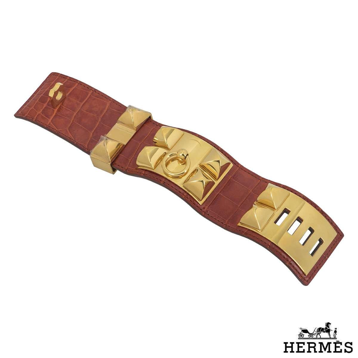 Hermes Alligator Collier De Chain Cuff